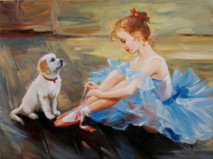 2014 wall decor ideas - oil painting on canvas girl  dog textured fine-f77614